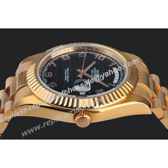 Replica Rolex 118235 Day-Date President Male Black Dial High End Automatic Yellow Gold