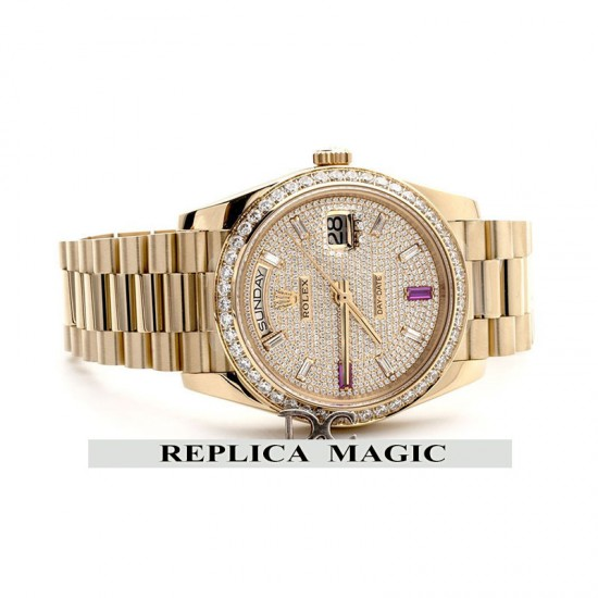 Replica Rolex Day-Date 40 Yellow Gold Diamond bezel and Paved Dial 228396