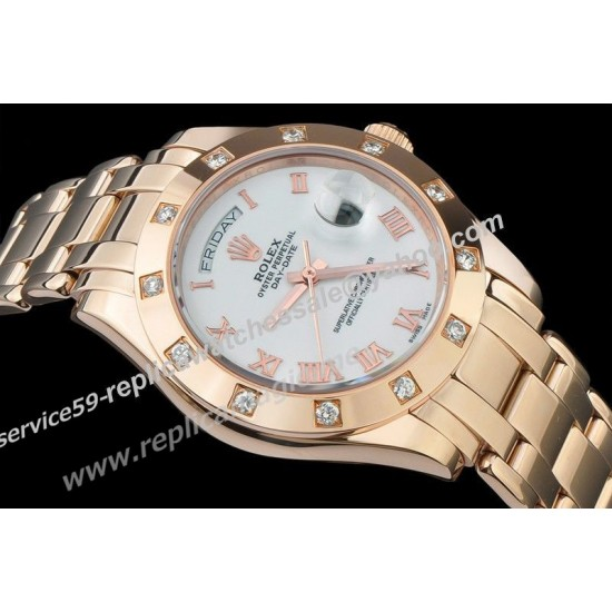 Replica Rolex Day-Date White Face Rose Gold Roman Index Special Price Swiss Mens