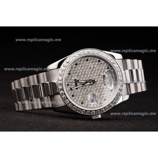 Replica Rolex Daydate Mens Automatic brushed stainless RDd024