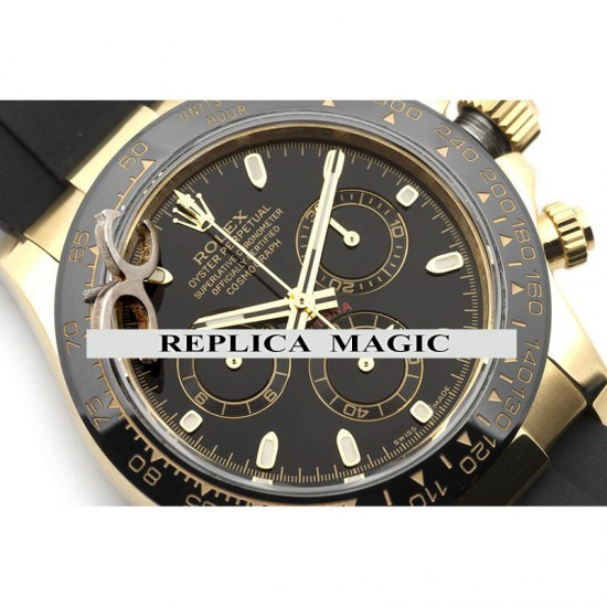 Replica Rolex Daytona 116518LN Black Dial And Black Ceramic Tachymeter Bezel in Yellow Gold With Rubber Strap