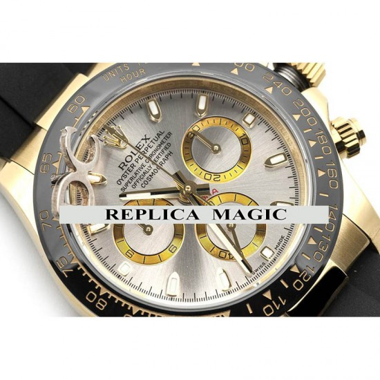 Replica Rolex Daytona 116518LN Silver Dial And Black Ceramic Tachymeter Bezel in Yellow Gold With Black Rubber Strap