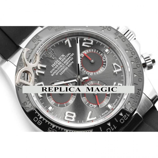 Replica Rolex Daytona 116519 Silver Racing Dial And Black Ceramic Tachymeter Bezel in White Gold With Rubber Strap