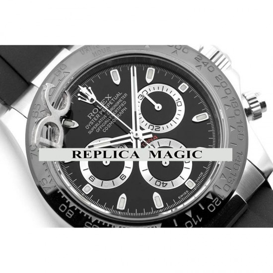 Replica Rolex Daytona 116519ln Black Dial And Ceramic Tachymeter Bezel In White Gold With Rubber Strap
