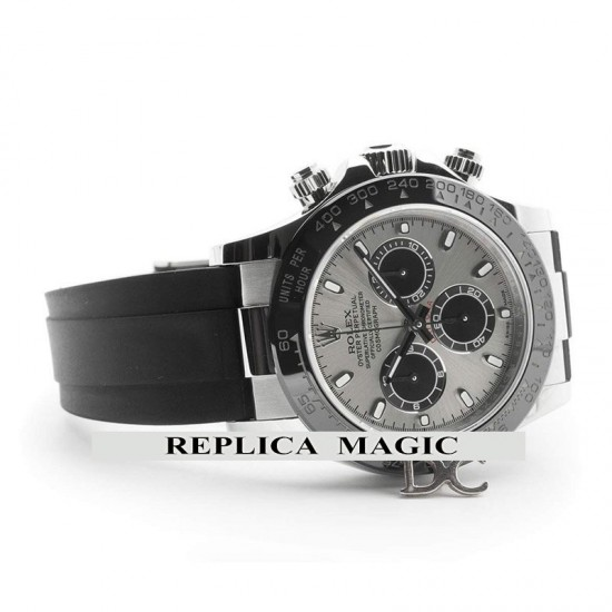 Replica Rolex Daytona 116519ln Silver Dial And Black Ceramic Tachymeter Bezel In White Gold With Rubber Strap