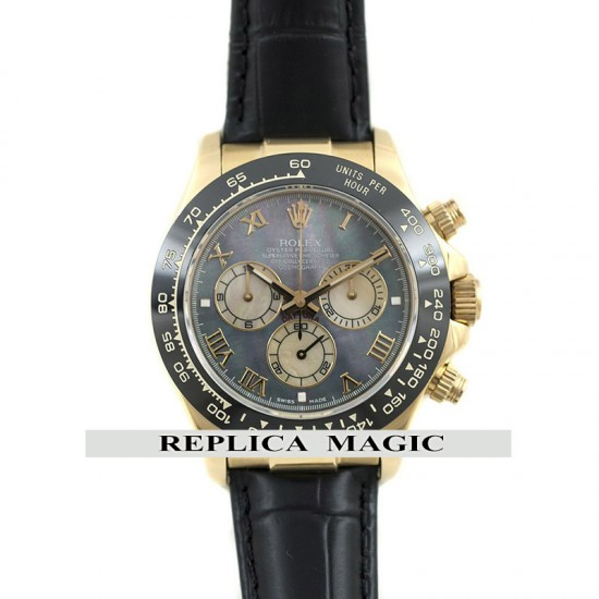 Replica Rolex Daytona 116515 Mother of Pearl Dial Black ceramic bezel in Yellow Gold Case With Blck Leather Strap