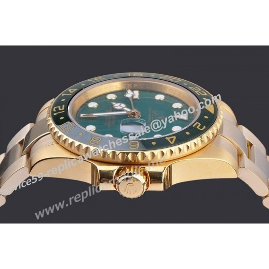 Replica Rolex GMT 116718 Master II Green  Dial Gold Bracelet Mens Automatic Hot Sell Date