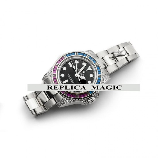 Replica Rolex GMT Master II 116758 Pepsi Black Maxi Dial in Steel with Paved Diamond Bezel