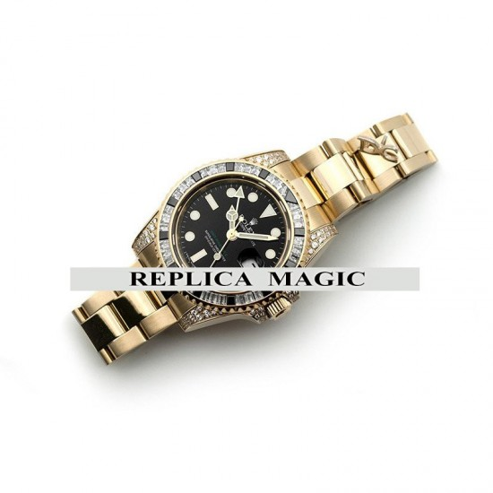Replica Rolex GMT Master II 116758 in Black Maxi Dial in Yellow Gold with Paved Diamond Bezel