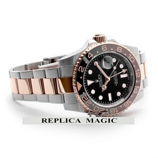 Replica Rolex GMT Master II 126711 CHNR Root Beer Mens Black Dial On Two-Tone Bracelet