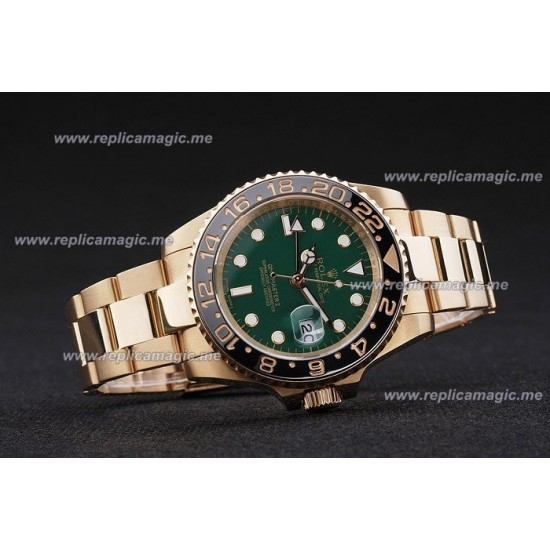 Replica Rolex GMT Master Mens Automatic 18ct Yellow Gold Stainless Steel RGM008