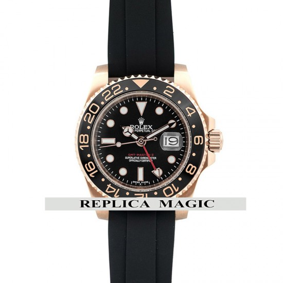 Replica Rolex GMT Master II Black Ceramic Bezel With Black Dial in Rose Gold On Rubber Strap
