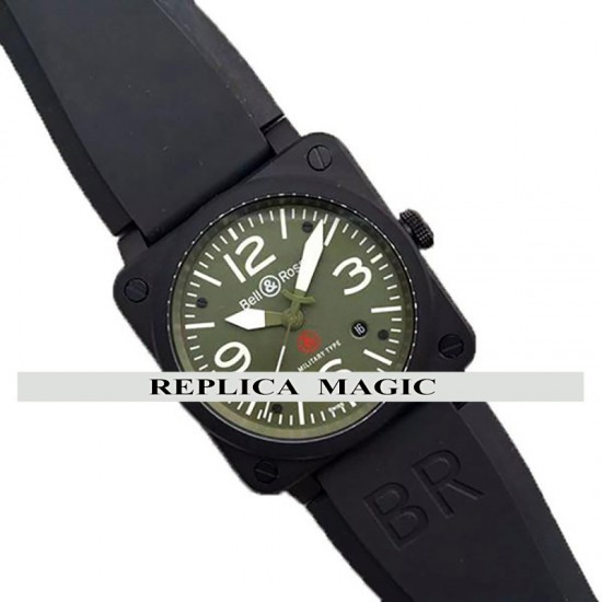 Replica Bell & Ross BR 03-92 Military Type Green Dial In PVD On Rubber Strap