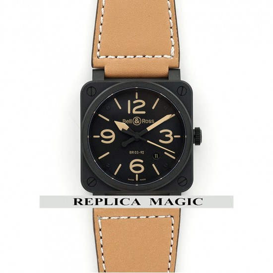Replica Bell & Ross BR 03-92 Heritage Black Dial In PVD On Tan Leather Strap