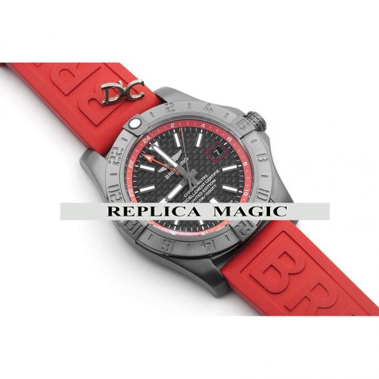 Replica Breitling Avenger II GMT Carbon Fiber Dial In PVD Steel On Red Rubber Strap