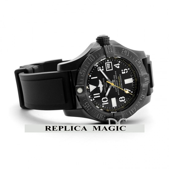 Replica Breitling Avenger II Seawolf 'Hong Kong Limited Edition' Black Dial in PVD On Rubber Strap
