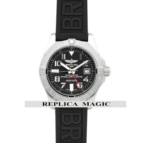 Replica Breitling Avenger II GMT Black Dial With Arabic Time Markers in Steel on Rubber Strap