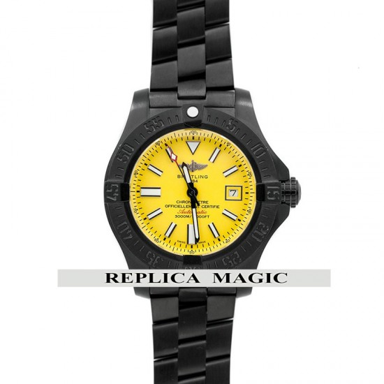 Replica Breitling Avenger II Seawolf Automatic Yellow Dial in DLC Steel