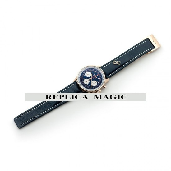 Replica Breitling Navitimer 01 Chronograph Blue Dial in Rose Gold On Blue Leather Strap