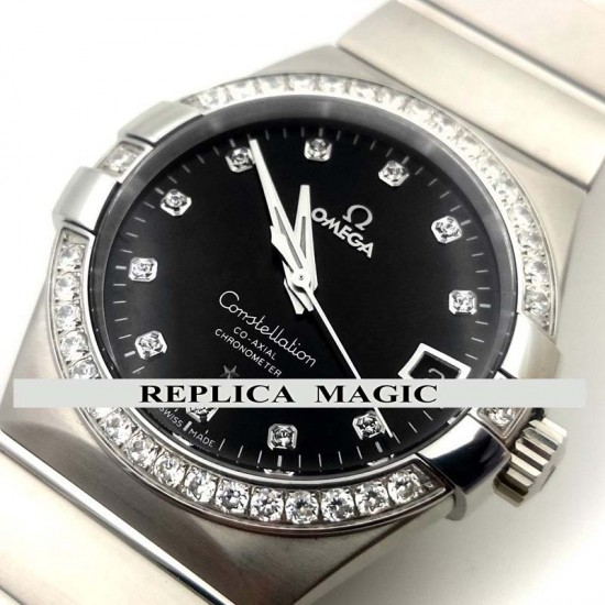 Replica Omega Constellation 38mm Black Dial with Diamonds