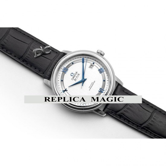 Replica Omega De Ville Co-Axial Chronometer White Dial With Blue Roman Markers In Steel