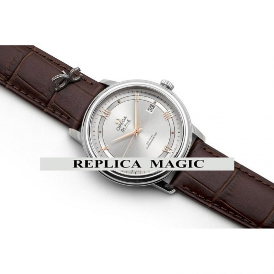 Replica Omega De Ville Co-Axial Chronometer White Dial With Rose Gold Roman Markers In Steel