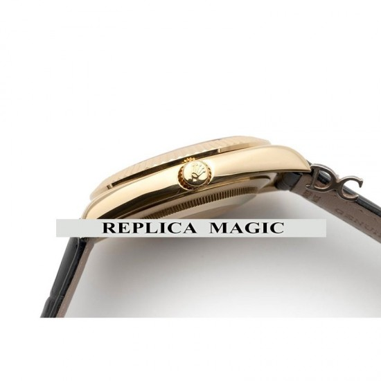 Replica Rolex Sky-Dweller 326938 Yellow Gold Dial on Black Leather Strap