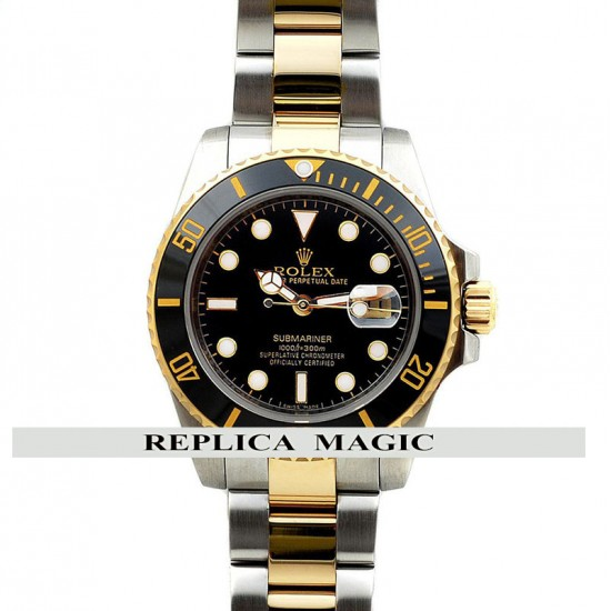 Replica Rolex Submariner 116613 Two-Tone Black Dial And Bezel In Steel