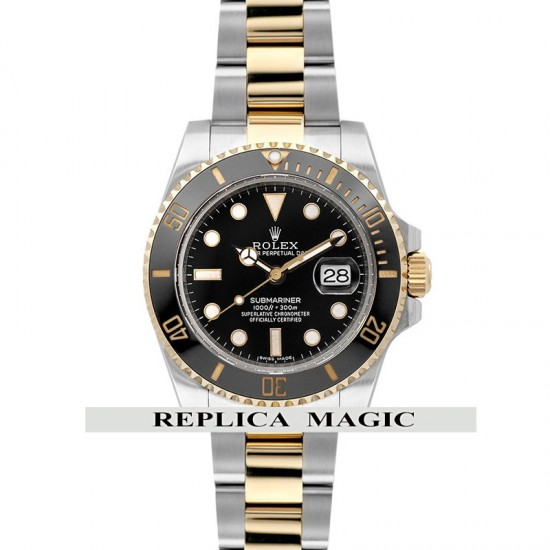 Replica Rolex Submariner 116613LN Two-Tone Black Dial And Bezel