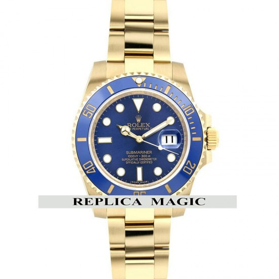 Replica Rolex Submariner 116618LB Blue Dial And Bezel in Gold