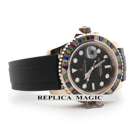 Replica Rolex Yacht Master 40 116695 SATS Black Maxi Dial with Gem-Set Bezel In Rubber Strap
